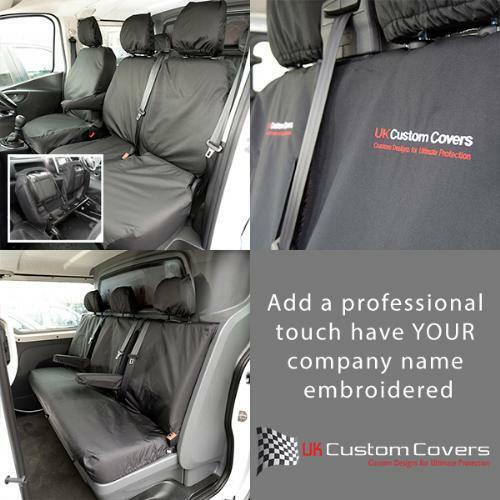 VAUXHALL VIVARO DOUBLE CAB 2014 ON SET OF SEAT COVERS INC EMBROIDERY 188 189 BEM