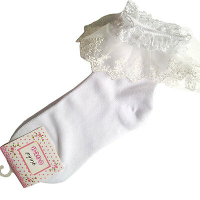 Vintage Lace Ruffle Frilly Ankle Socks Fashion Ladies Princes Black White Retro