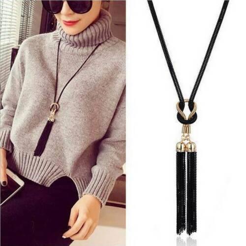 Exquisite Necklace Jewelry Handmade Black Elegant Gold Black Color Knot Tassel J