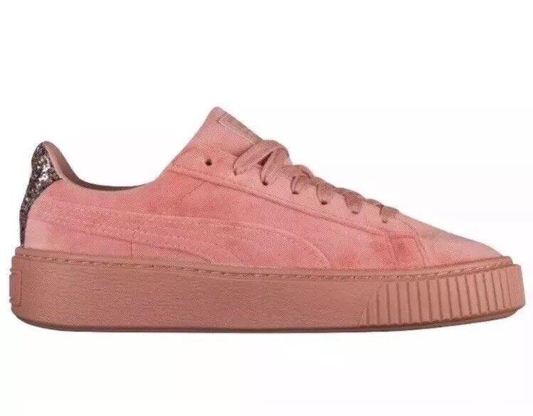 Puma Platform Velvet Crushed Gem Women's shoes 366497 02 Cameo Brown Pink Size 7