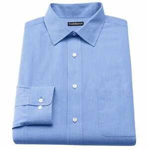 Men-039-s-Croft-amp-Barrow-Classic-Fit-Striped-Blue-Broadcloth-SpreadCollar-Dress-Shirt