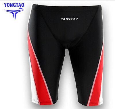 Fast Speed Shark Skin Mens Middle Swim Shorts Athlete Tight Trunks Swimwear