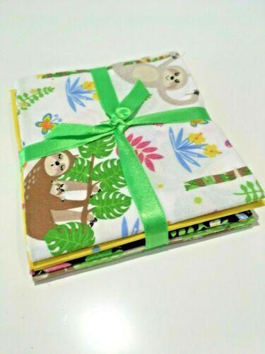 Sloth Jungle Funny vert jaune Blac FAT TRIMESTRE BUNDLE 4 Pce Tissu 100/% coton