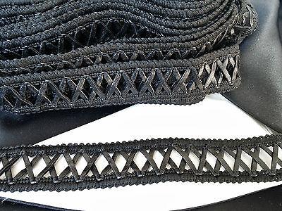 Black Faux Leather X Pattern Gimp Braid Lace Tape Sewing Trim (TR0036) W2.7cm