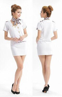 Flight Attendant Stewardess OL Hostess Uniform Dress Women Costume for Halloween
