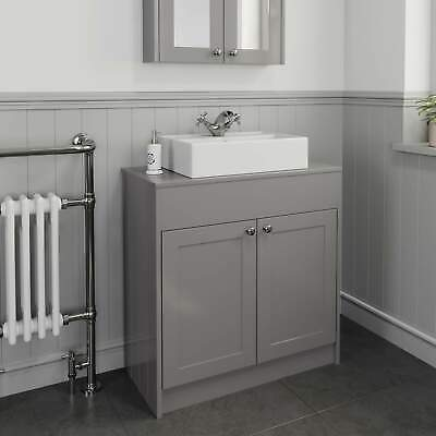 800mm Grey Traditional Vanity Unit Countertop Basin Rectangle Bathroom Furniture