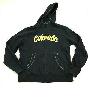 VINTAGE Colorado College Tigers Hoodie Full Zip Sweater Size Large Black Sewn On