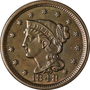 1848 Large Cent Choice BU N-28 R.3 Great Eye Appeal Strong Strike