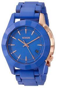 Nixon-Women-039-s-A288-1675-00-Monarch-38mm-Cobalt-Rose-Gold-Blue-A2881675