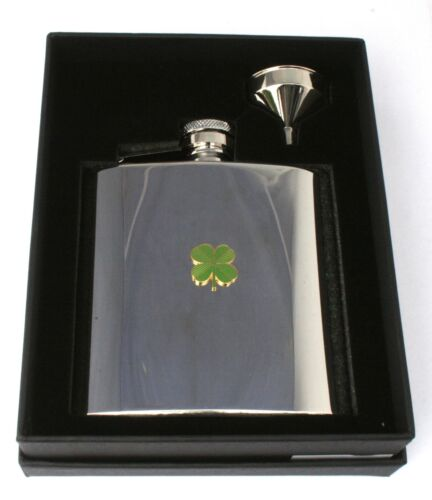 Four Leaf Clover 6oz Hip Flask Personalised Clover Boxed FREE ENGRAVING 138