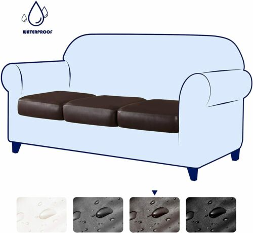 Stretch PU Leather Sofa Chair Seat Cushion Cover Waterproof Slipcovers Protector