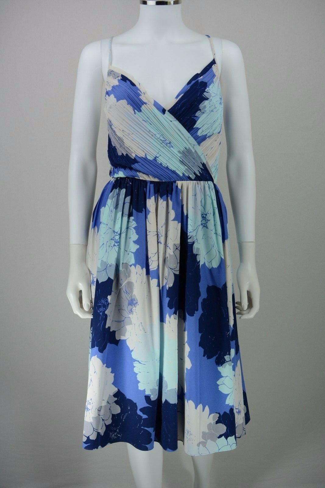 Woherren Banana Republic Größe 14 Floral Blau Crotver Strap Tea Dress NEW NWT