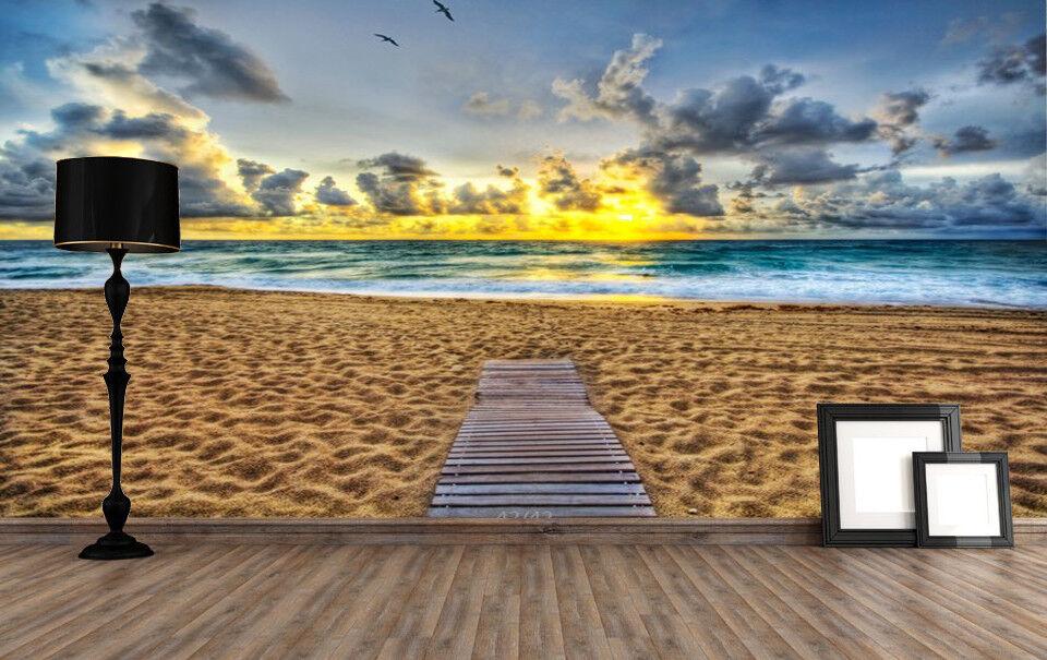 3D Sand Strand Sonnenuntergang 453 Tapete Tapeten Mauer Foto Familie Wandgemälde