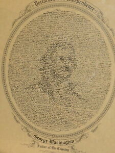 RARE LITHO PORTRAIT GEORGE WASHINGTON ILLUSION OPTIQUE INDEPENDENCE AMERICA USA