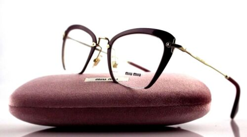 NEW Authentic MIU MIU Amaranth Gold EyeGlasses Frame MU 54OV UA51O1 VMU 54O