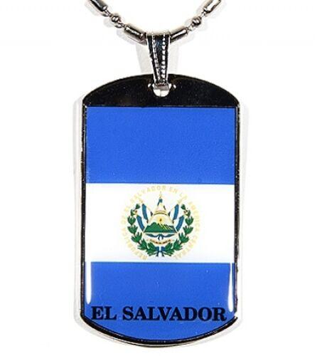 El Salvador Flag Polymer Glazed Color Dogtag Dog Tag