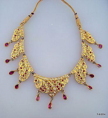 vintage antique tribal old silver gold vermeil gold gilded necklace choker