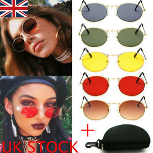 f2dae3a341 Image is loading Fashion-Mens-Womens-Retro-Small-Oval-Sunglasses-Metal-