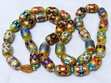"""CHINESE VINTAGE/ANTIQUE ENAMEL BEAD NECKLACE 32"""" silver clasp"""