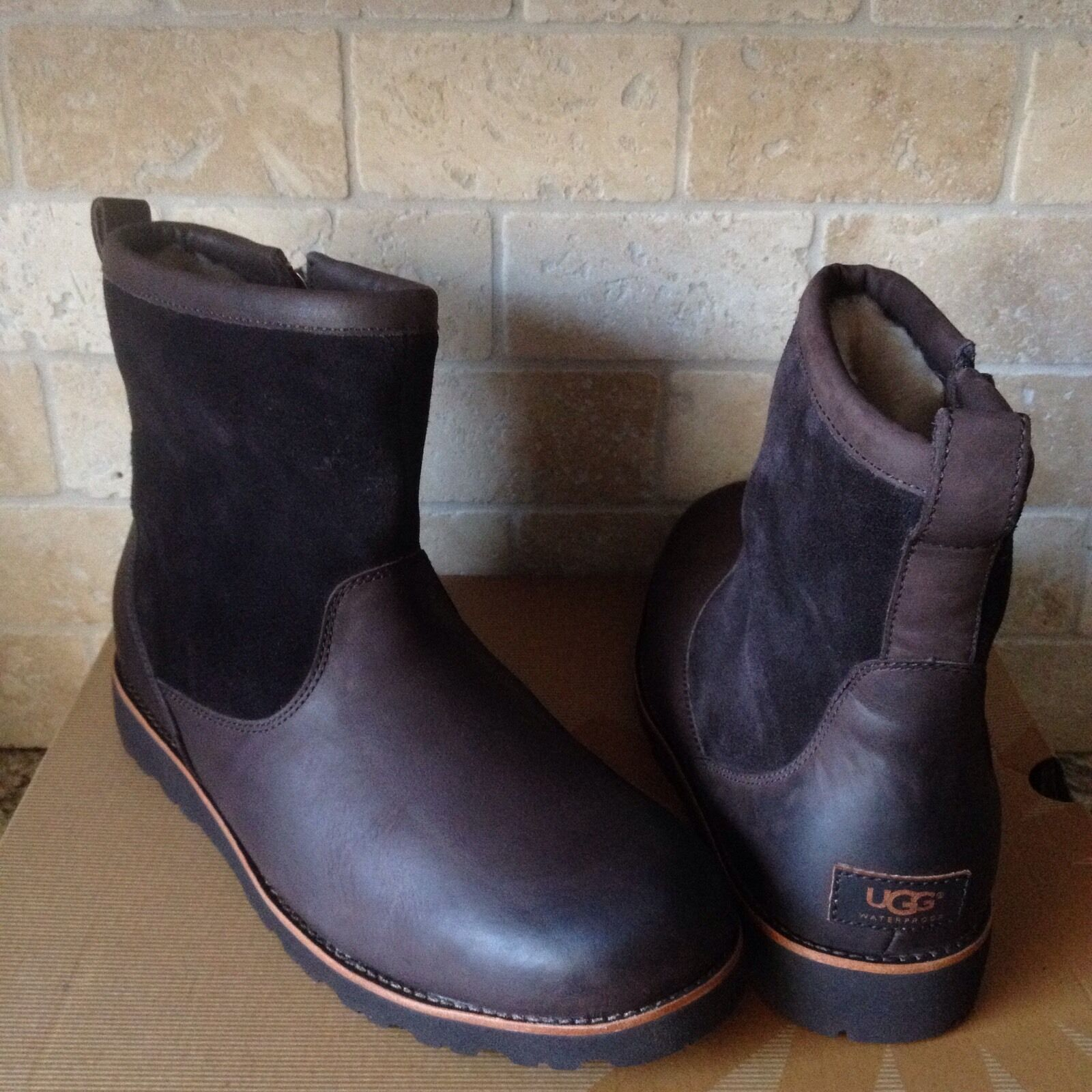 35921801b24 UGG HENDREN TL STOUT BROWN WATERPROOF LEATHER WORK BOOTS SIZE US 10 MENS