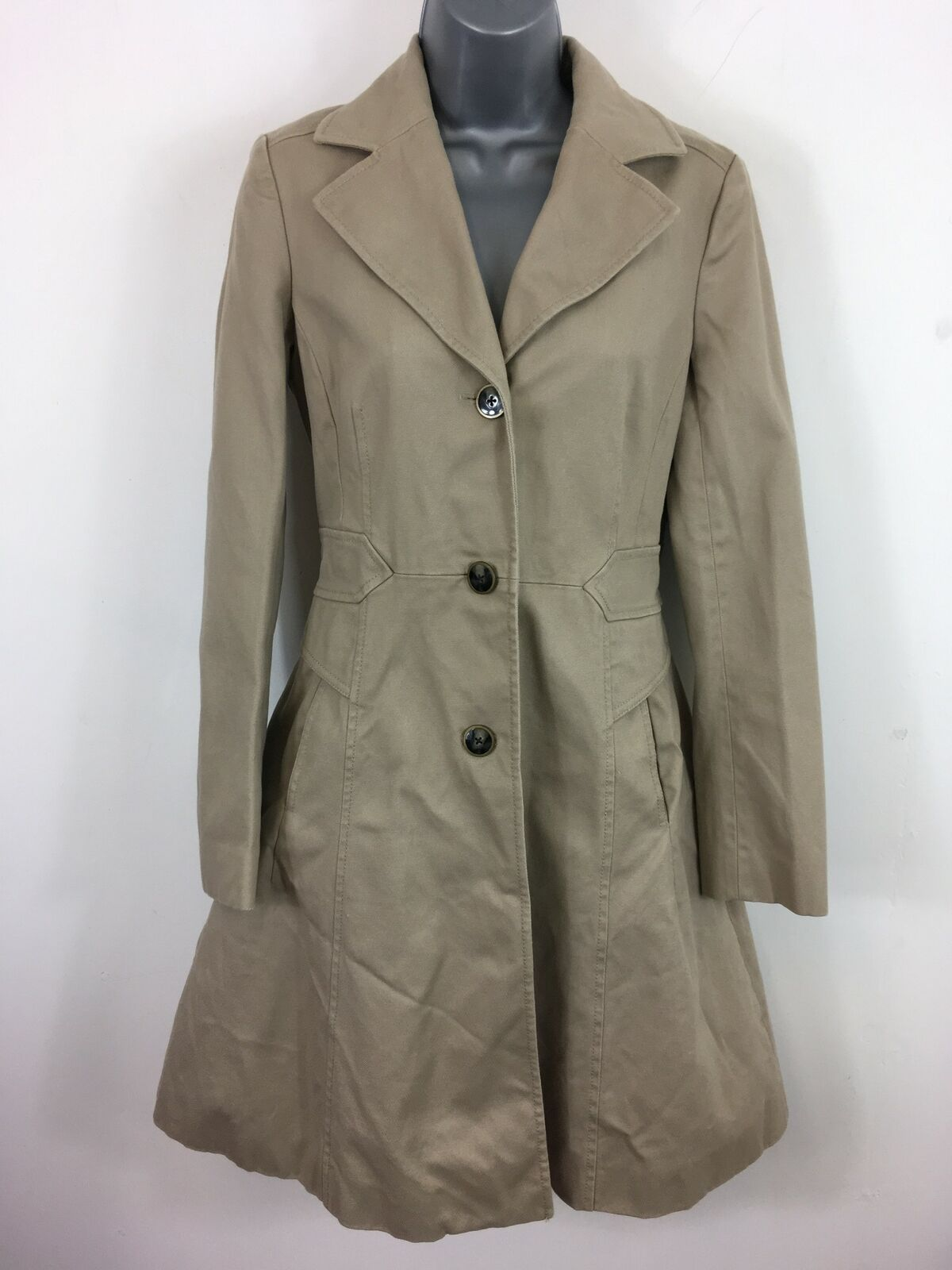 WOMENS REISS NATURAL BEIGE BUTTON UP SMART FITTED FLARE LONG SMART COAT SMALL