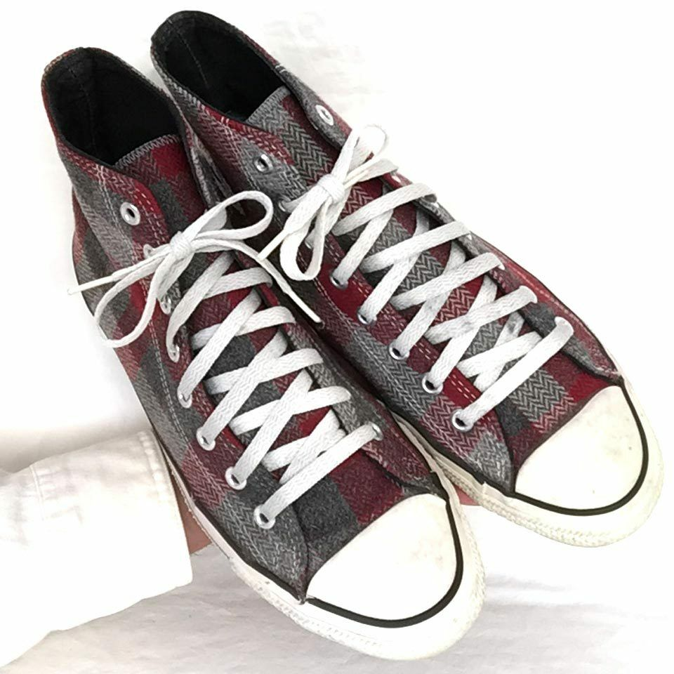 Vintage USA-Made Converse All Star Chuck Taylor chaussures sz 9.5 Laine Plaid Hi-Tops