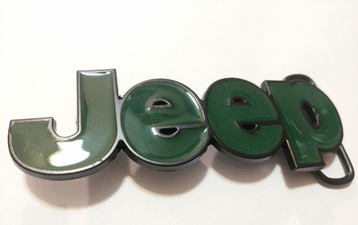JEEP raised letter Logo 4x4 Belt Buckle Wrangler Cherokee commander gift Green