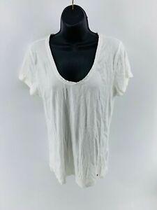Tommy-Hilfiger-Women-039-s-T-Shirt-Top-Short-Sleeve-Shirt-Scoop-Neck-White-Size-XL