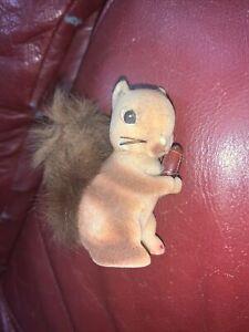 "Vintage Flocked Squirrel with Nut Figurine - Fur Tail - 2 3/4"""