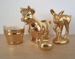 Antique Vintage Warranted 22 Carat Gold Cow Creamer Deer Bucket Egg Salt Shaker