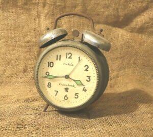 VINTAGE ALARM CLOCK RUHLA DUOCLOCK MADE IN GDR RARE DESK CLOCK BEAUTIFUL #117