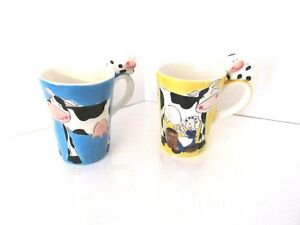 BOSMAN-Hand-painted-Holland-Figure-COW-TEA-CUP-Set-of-Two
