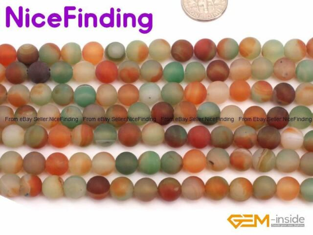 "Natural Stone Agate Round Frost Jewelry Making Design Beads Gemstone 15""8mm"