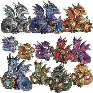 Zodiac 4-5 inch Dragon Holding Birth Stone Collectible Resin Statue Figurine GSC