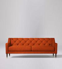 Swoon Pritchard Living Room Modern Burnt Orange Wool Three-Seater Sofa