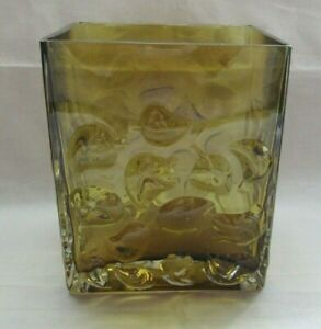 Kumela Finland Glass Amber Block Vase With Leaf Design Unsigned Ebay
