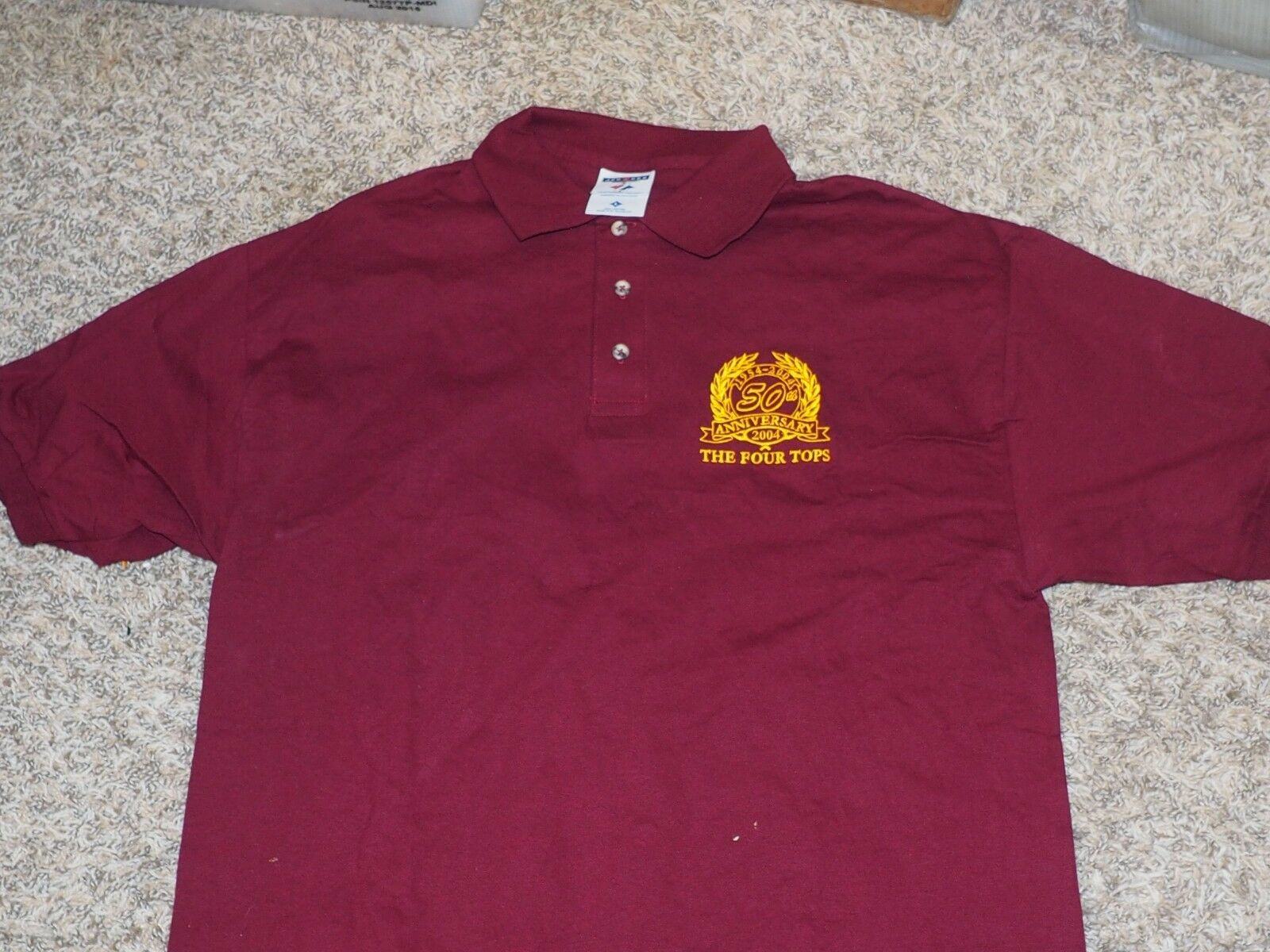 Brian Holland THE FOUR TOPS Personal 50th anniversary Burgundy Shirt SIZE Large