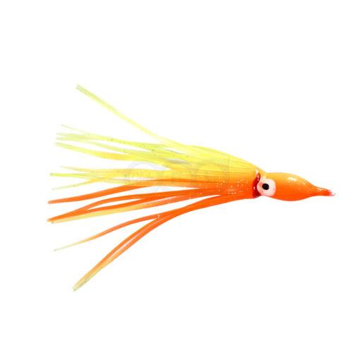 "50pcs 4-3//4/"" Yellow Orange Squid Skirts Octopus Hoochies Rock Fish soft Lures"