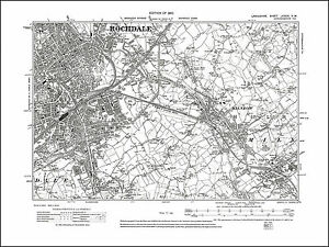 Old map of Rochdale east Milnrow Lancashire 1910 89NW repro eBay