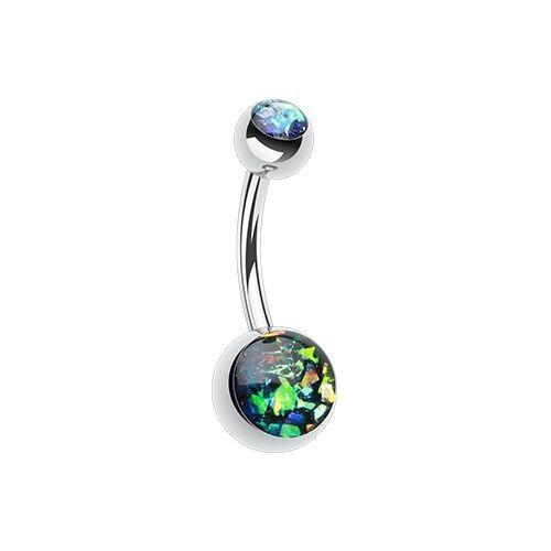 Golden Opal Glitter Shower Belly Ring White Black Blue Pink Teal Purple Silver