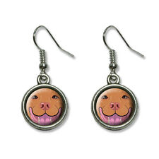 Red nose Pit Bull Face - Pitbull Dog Pet - Novelty Dangling Drop Charm Earrings