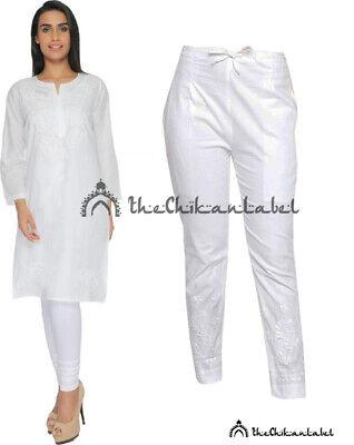 Blue Cotton Kurti Pant Set Indian Handmade Chikankari Work Women Kurta Palazzo