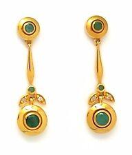 Smaragd & Diamant Ohrstecker  925 Silber  Vergoldet  ANTIK STYLE