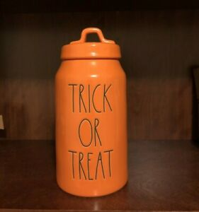 Rae-Dunn-LL-Orange-Halloween-TRICK-OR-TREAT-Canister