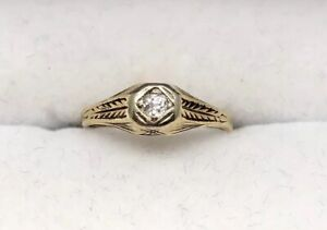 Vintage-14k-Gold-Victorian-Baby-Or-Pinky-Ring-Mine-Cut-Diamond