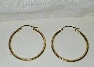 Kays Kay Jewelers 10k Yellow Gold 1 25 Shiny Puffy Hoop Earrings Aaj Ebay