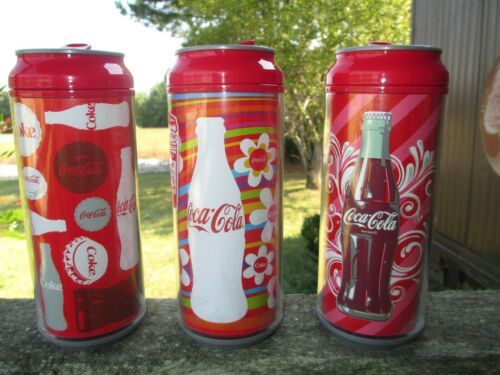 Coca-Cola Set of 3 Cool Gear Tall Can Chillers 16 oz Bottle Flowers Multi