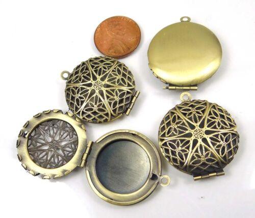 4 Antique Bronze Filigree Hollow Locket Flat Round Pendants 27x32mm