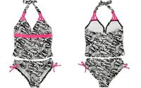 Breaking Waves Little Girl's Zebra Print Two-piece Tankini Swimsuit Set, Black