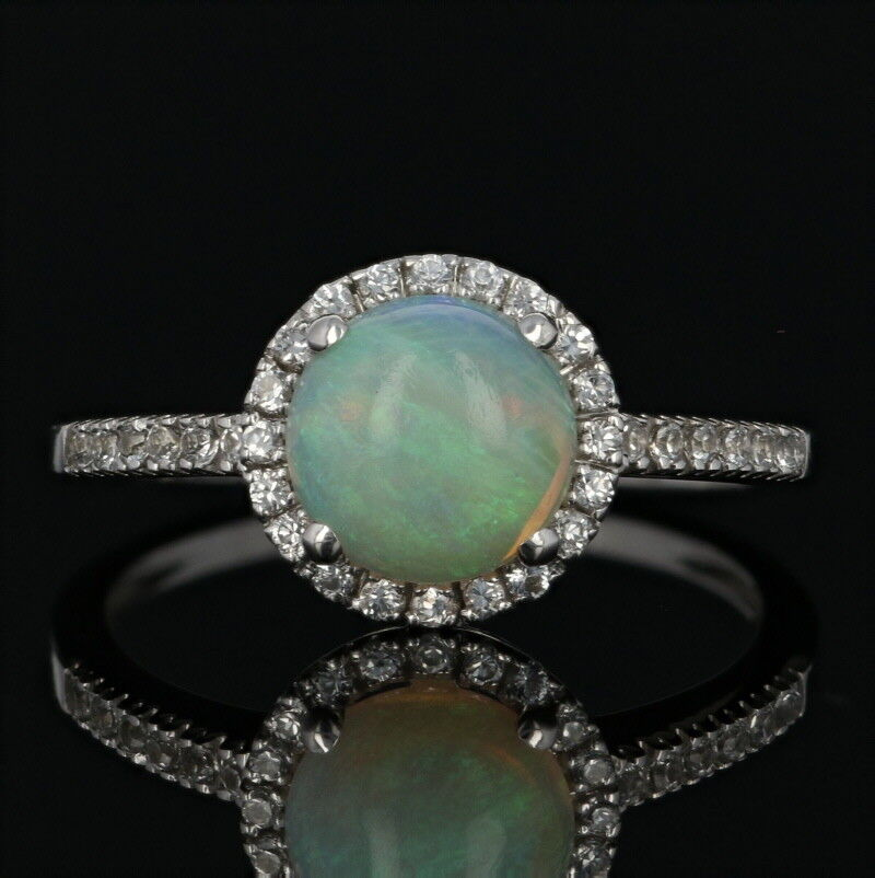 Opal & Cubic Zirconia Halo Ring - 10k White gold Round Brilliant Cabochon